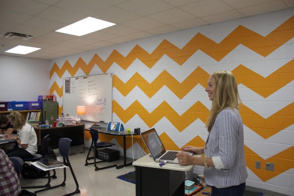 SGA+students+painted+Mrs.+Rebecca+Nutter%27s+room+a+trendy+orange+and+white+chevron.