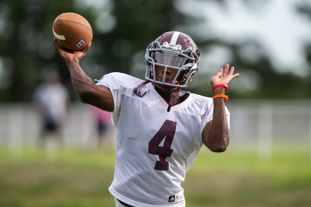 Quarterback Xavier Johnson goes back to pass during preseason practice. Johnson is filling the shoes of Nicky Frizen. http://hob3photography.smugmug.com/
