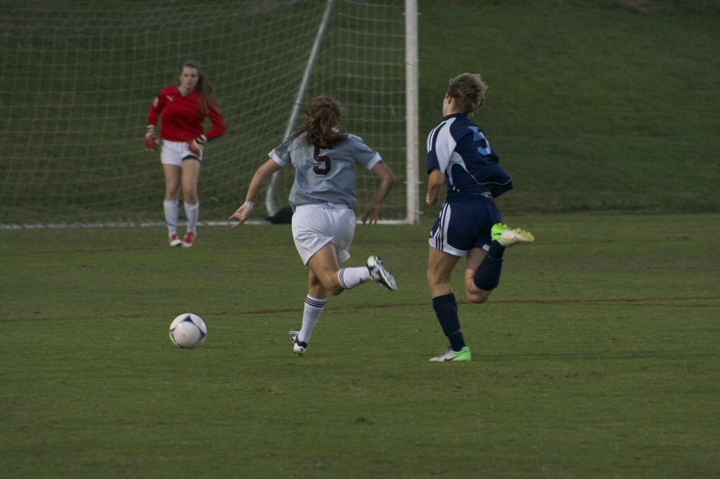 Junior striker Ashley Seltzer breaks away from the defense in a game against Hardin Valley early in the season.