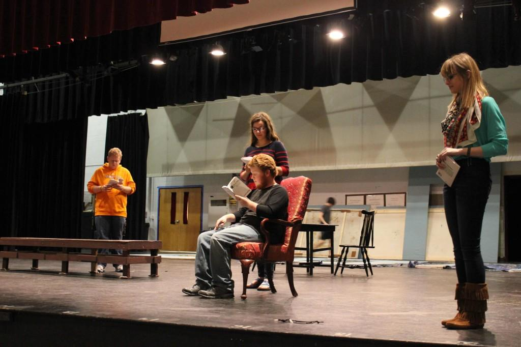 Zane+Gray%2C+Marianne+Dodson%2C+Marshall+Carpenter%2C+and+Alyse+McCamish+%28left+to+right%29+rehearse+for+Advanced+Acting%27s+performance+of+Pride+and+Prejudice.