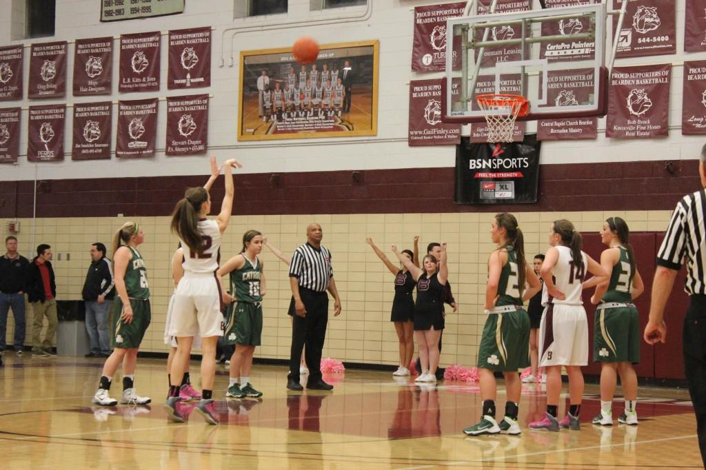 Senior Erin Walsh makes a free throw against Catholic earlier this year. Walsh is a member of one of the most decorated senior classes in program history.