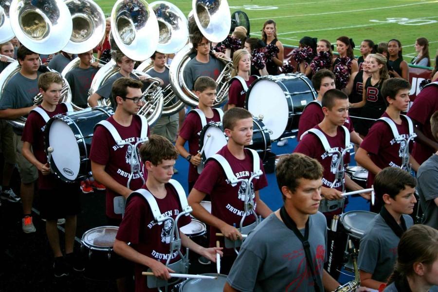 The Bearden drumline enters the stadium at last Friday's season opener.