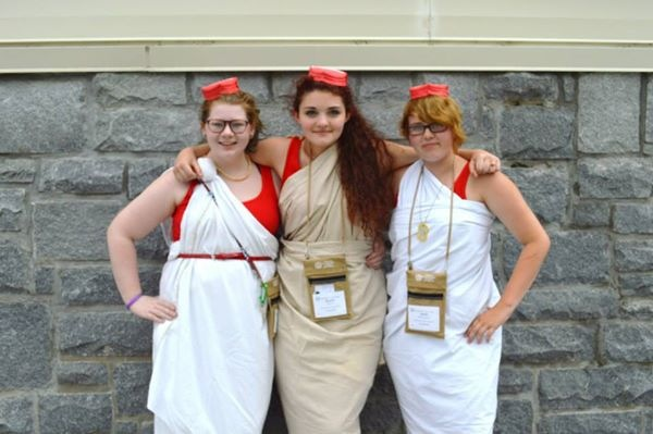 Katy Burton, Aimee Lafon, and Hope Buchanan (left to right) pose for a picture during NJCL.