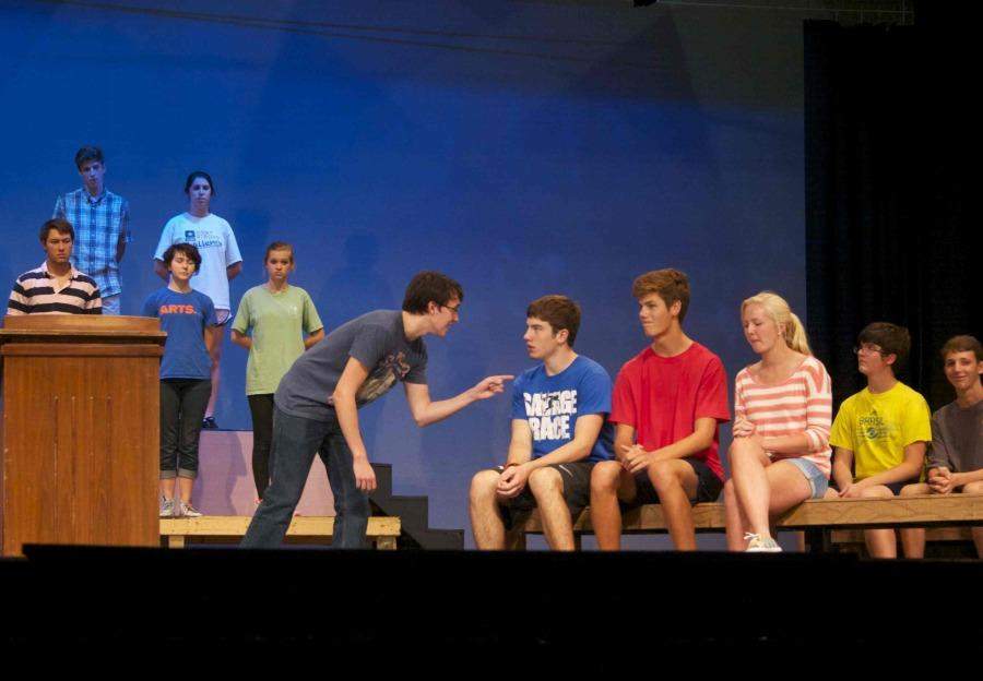 Junior Jackson Bieger calls out one of his fellow cast members during rehearsal. Bieger is one of 23 newcomers to Bearden's musical theater program this year.