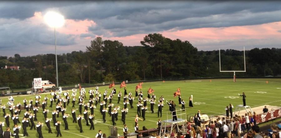 The Bearden marching band performs during halftime of a recent football game. The band is hoping to replace these uniforms before next year.