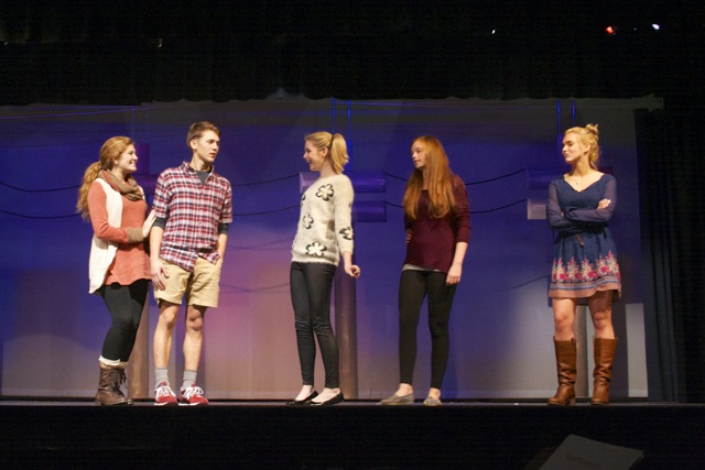Allison+Balsley%2C+Brady+Moldrup%2C+Alyse+McCamish%2C+Anna+Smith%2C+and+Molly+Yerger+%28left+to+right%29+rehearse+for+this+week%27s+performances+of+Footloose.