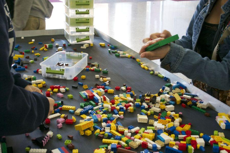 Bearden students play with Legos in the West Mall this week.