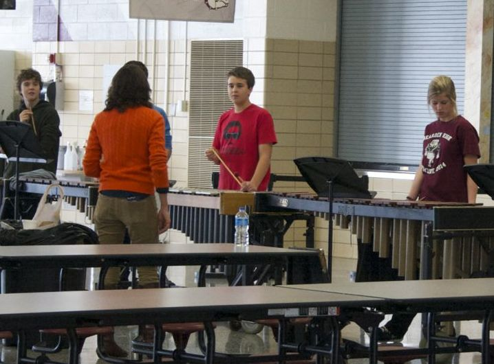 Mrs.+Megan+Christian+prepares+for+the+holiday+concert+with+her+percussionists.