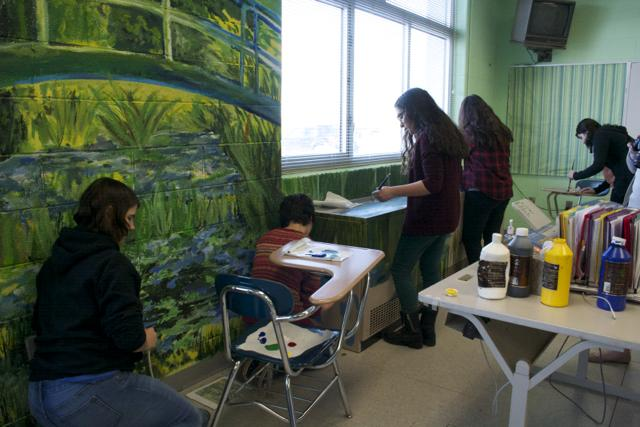 NAHS+students+finish+up+their+replica+of+Claude+Monet%27s+%22The+Water-Lily+Pond%22+in+Ms.+Amy+Naill%27s+room.