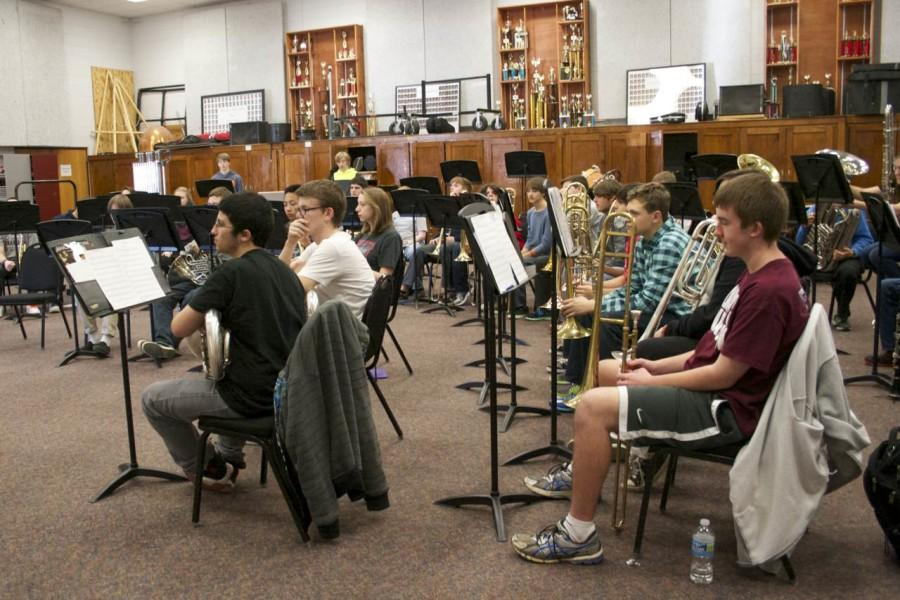 Bearden+band+students+rehearse+in+the+band+room.+Several+were+selected+to+participate+with+their+peers+in+All-State+East.