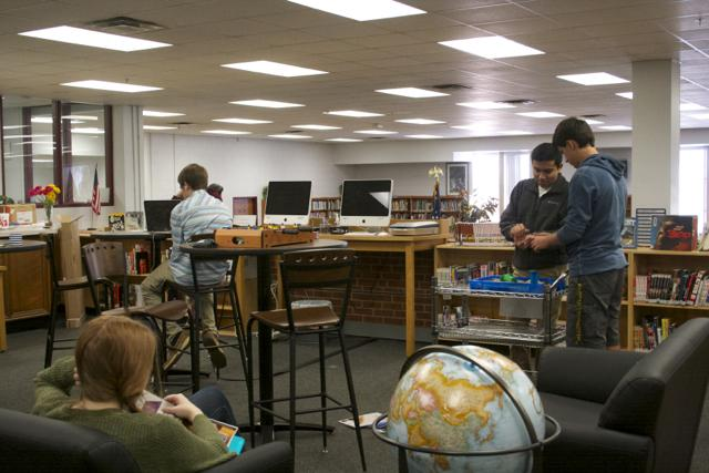 Students+are+enjoying+the+library%27s+new+ambience.