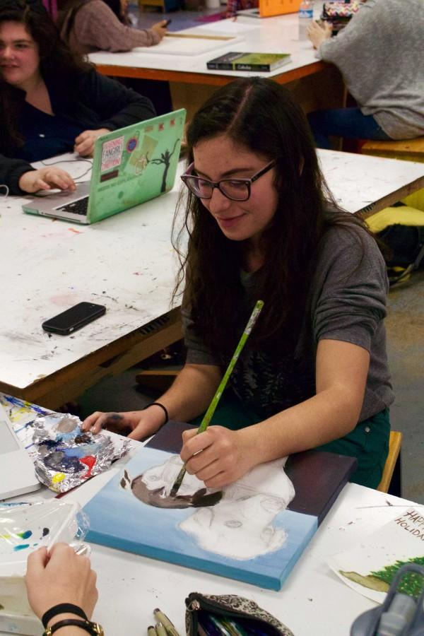 Bearden senior Esther Sitver works in the art room last week. Look for the senior's Best in Show artwork on a local billboard or at the Knoxville Museum of Art.