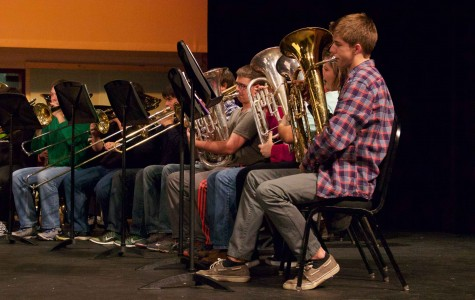 The Bearden band rehearses Star Wars, which they will play at their upcoming concert.