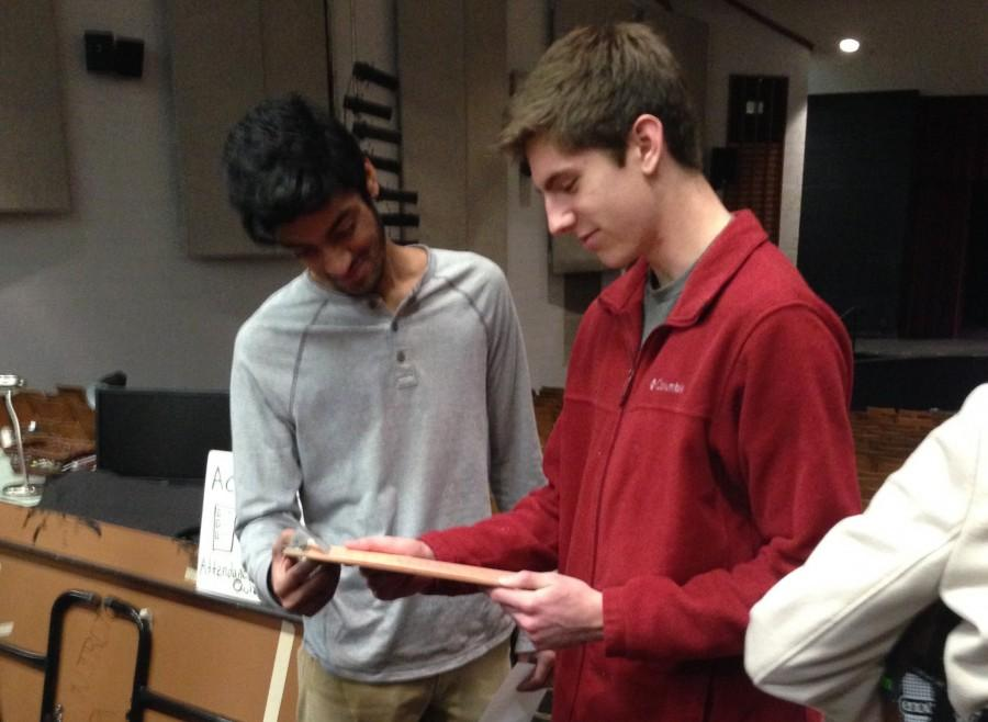 President-elect Jacob Sobota (right) and vice-president elect Deneil Patel (left) plan for next year's Key Club events.