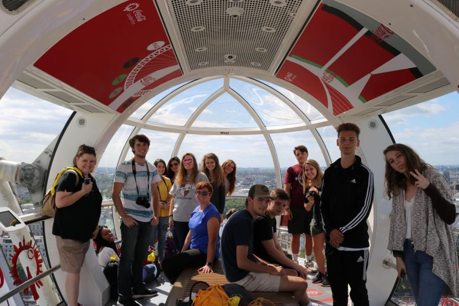 Assistant+principal+Mrs.+Anna+Graham+poses+with+her+students+last+summer+in+the+London+Eye.+Mrs.+Graham+is+taking+students+to+Paris+this+summer.