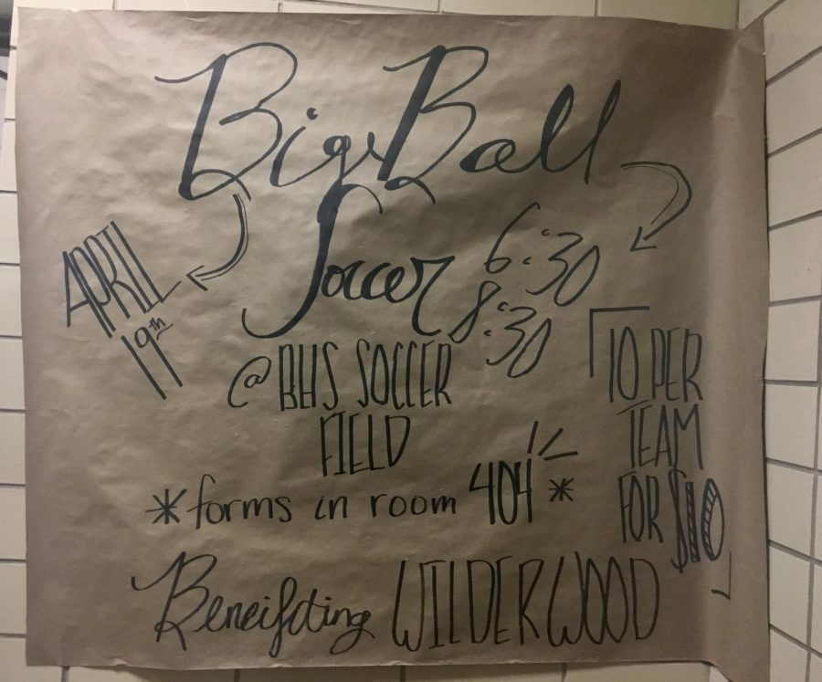 Sign-up for Big Ball Soccer tournament available outside Room 404