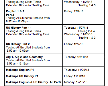 TNReady state EOC testing will adjust Bearden bell schedule again Dec. 7 and 11