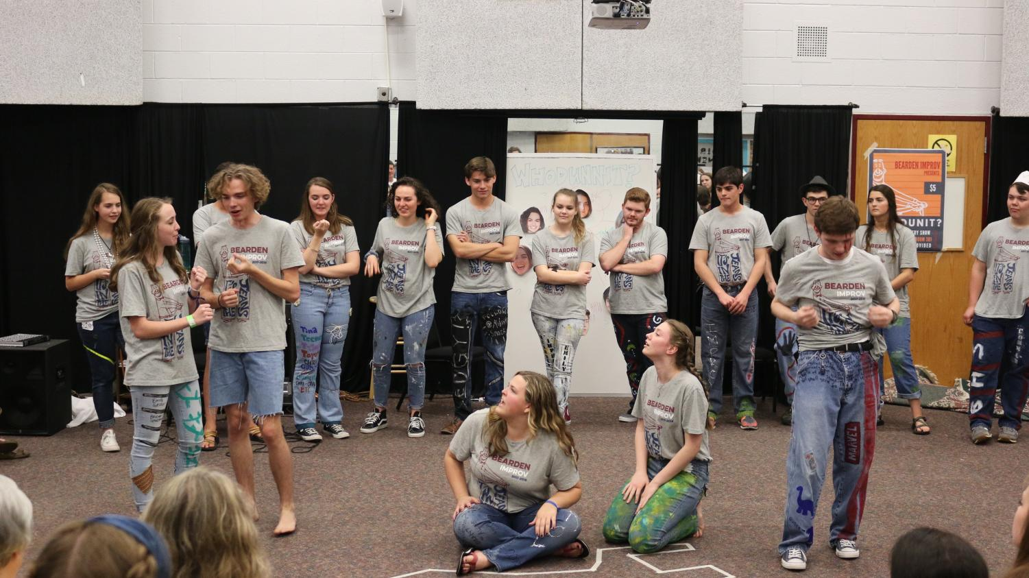 The improv team performs at a show last spring.