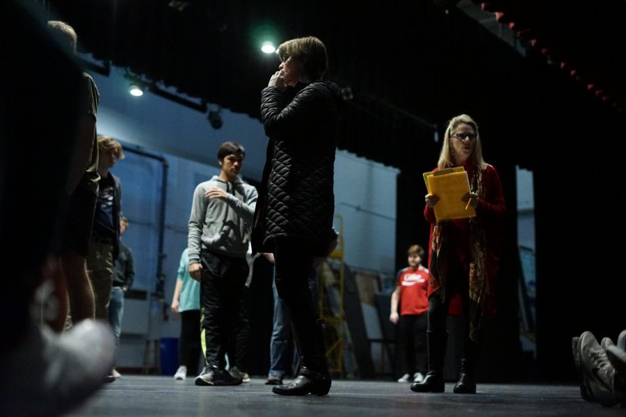 Bearden theatre teacher Ms. Katie Alley (center) works with her new cast for The Odyssey during fourth block. Ms. Alley has announced the cast list, and students are moving forward with preparations for the show.