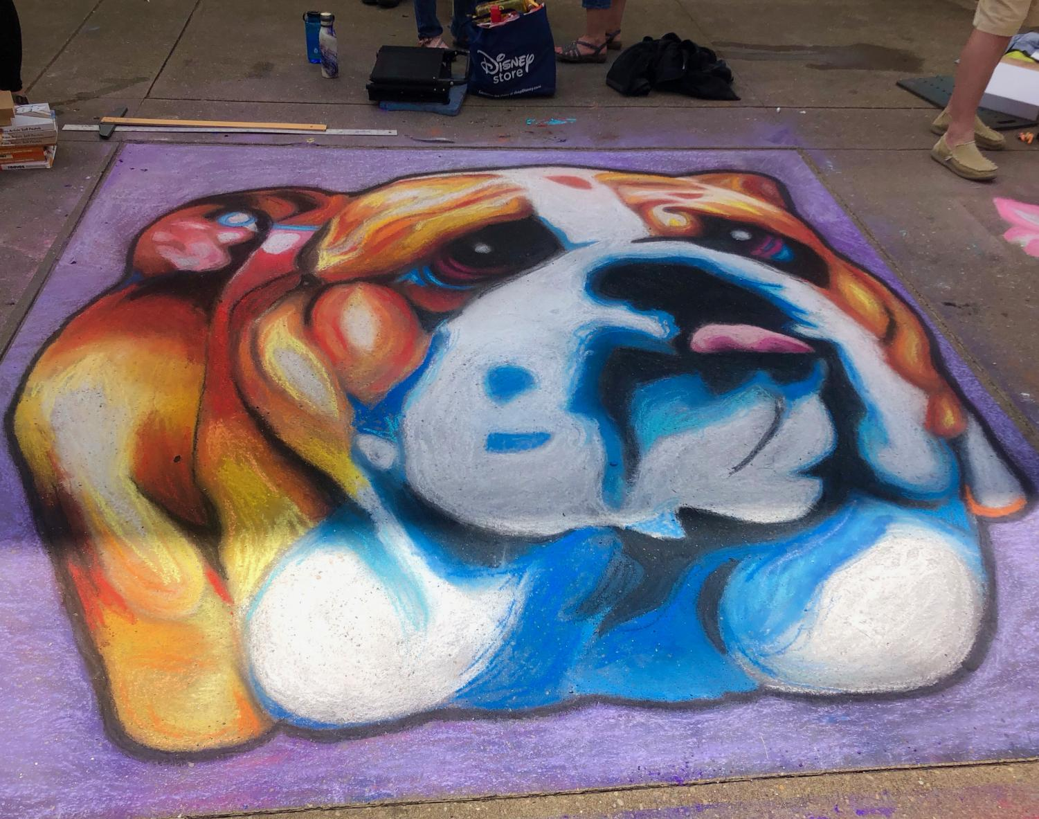 Bearden contributed this colorful bulldog to the Dogwood Festival's Chalk Walk on April 6.