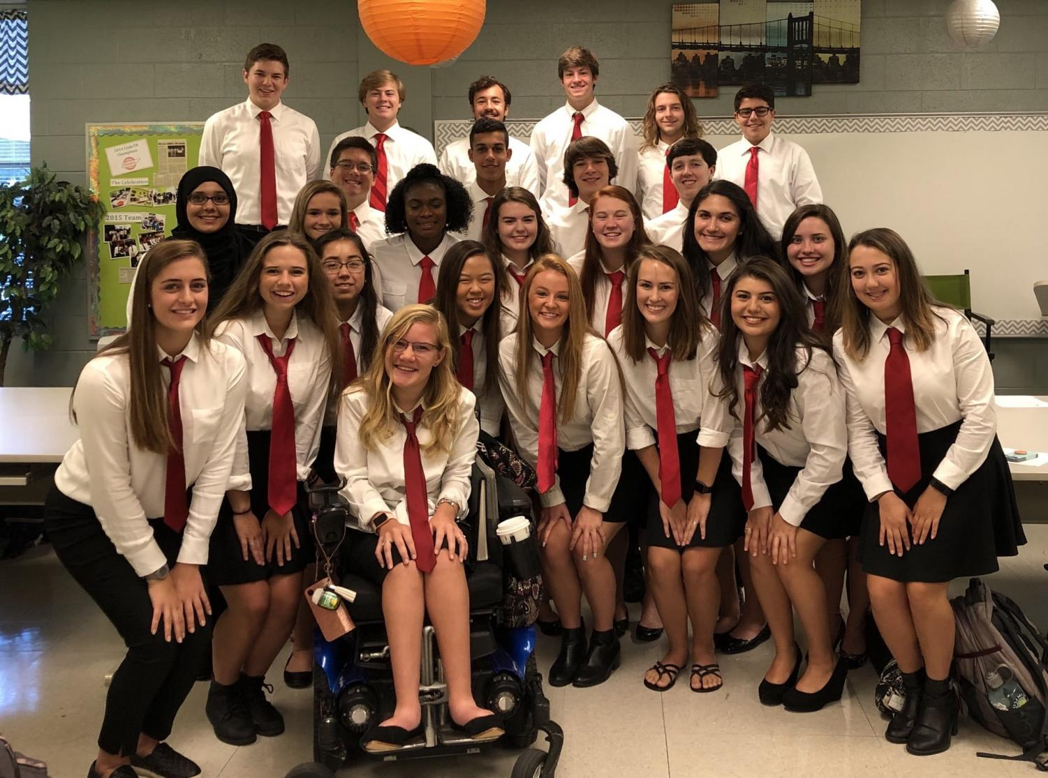 The Class of 2019 senior committee takes a group photo at a meeting earlier this year.