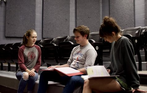 Abigail Waldroup (left) and Rylee Norling (right) run lines with Ben Barber. All three will have lead roles in Bearden's production of