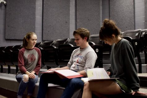 Abigail Waldroup (left) and Rylee Norling (right) run lines with Ben Barber. All three will have lead roles in Bearden