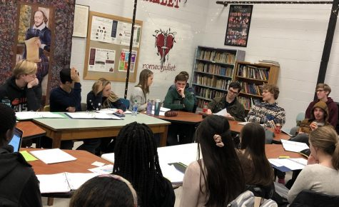 The Grapes of Wrath cast completes a table read during class this week.