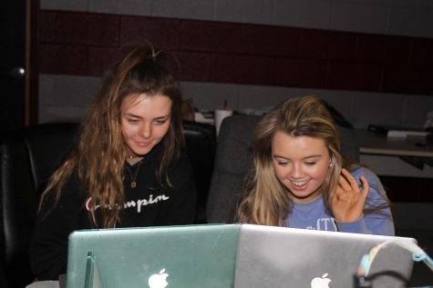 Editors Emma Vaughn (left) and Allie Ballinger (right) have been working hard on the annual since the fall.