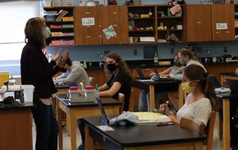 Chemistry teacher Mrs. Andrea Hevrdeys has had to adjust to having students so spread out in her classroom.