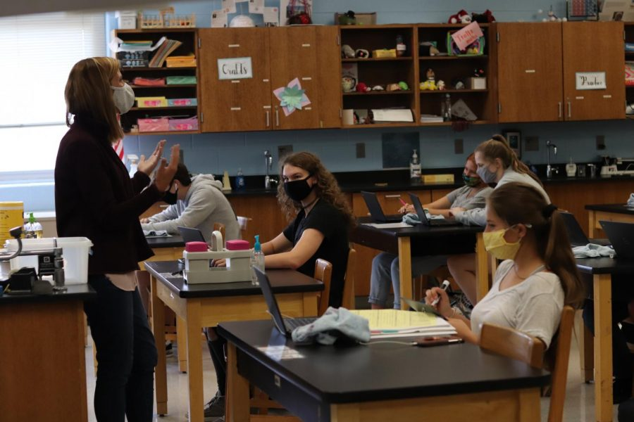 Chemistry+teacher+Mrs.+Andrea+Hevrdeys+has+had+to+adjust+to+having+students+so+spread+out+in+her+classroom.