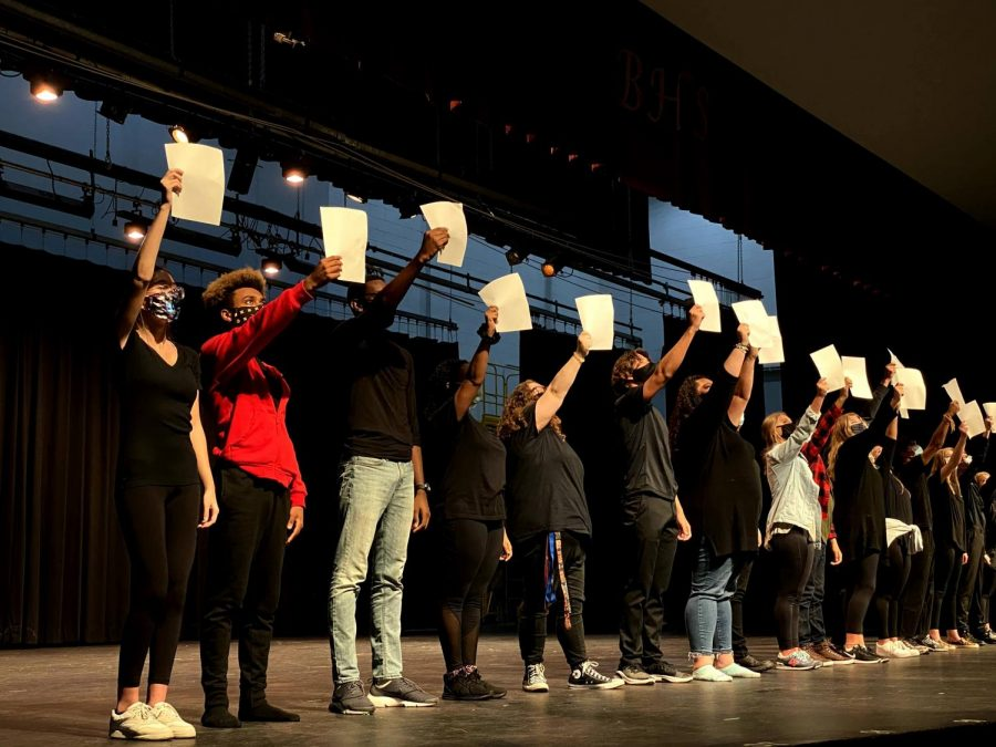 Bearden's musical theatre students rehearse for Sunday's Musical Revue.