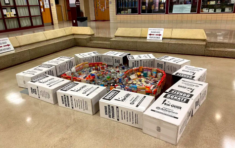 Many of Bearden's cans collected for Second Harvest are on display in The Pit.